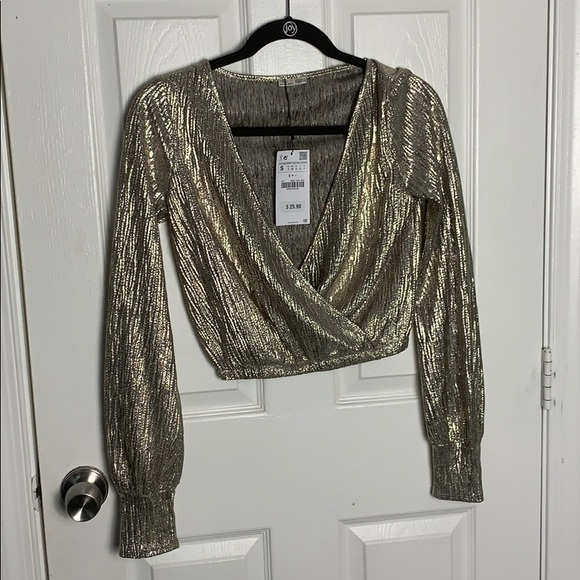 Zara Tops - Zara Metallic Crop To Shirt